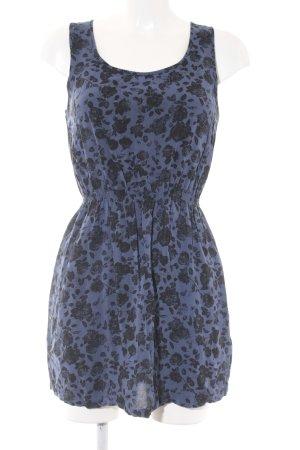 Adidas NEO Mini Dress steel blue-black flower pattern romantic style