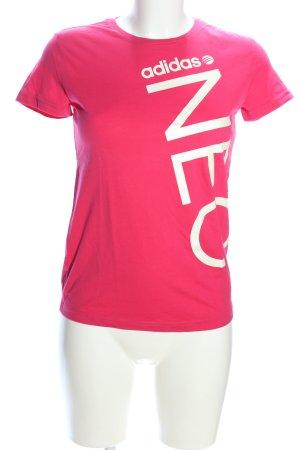 Adidas NEO Camiseta estampada rosa-blanco letras impresas look casual