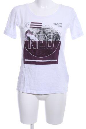 Adidas NEO T-shirt blanc-violet imprimé avec thème style décontracté