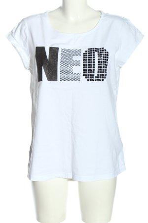 Adidas NEO T-Shirt weiß-schwarz Schriftzug gedruckt Casual-Look