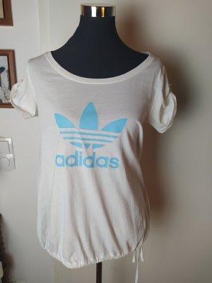 Adidas Originals Oversized Shirt  mit Tunnelzug, creme/ hellblau 36/S
