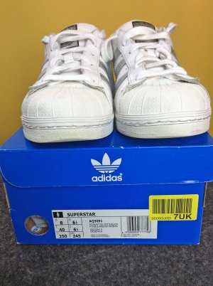 ADIDAS ORIGINALS SUPERSTAR Sneaker white/silver weiß/silber Superstars, 40 / US 8 (