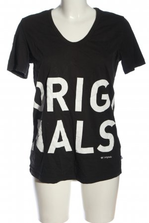 Adidas Originals T-Shirt black-white printed lettering casual look