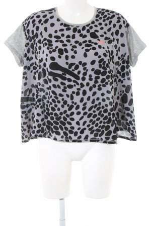 Adidas Oversized Shirt hellgrau-schwarz abstraktes Muster Casual-Look
