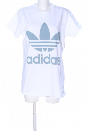 Adidas Top extra-large blanc-bleu lettrage imprimé style décontracté