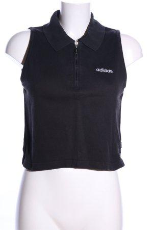 Adidas Polo Top schwarz Schriftzug gestickt Casual-Look