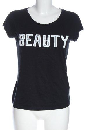 Adidas Print-Shirt schwarz-weiß Schriftzug gedruckt Casual-Look