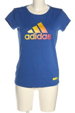 Adidas Print-Shirt blau Motivdruck Casual-Look