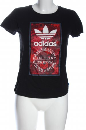 Adidas Print-Shirt schwarz-rot Motivdruck Casual-Look