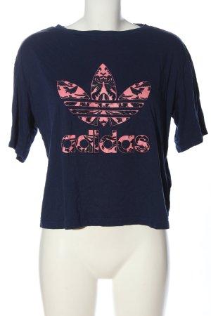 Adidas Print-Shirt blau-pink Motivdruck Casual-Look