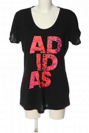 Adidas Print-Shirt schwarz Schriftzug gedruckt Casual-Look