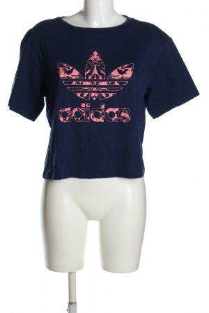 Adidas Print Shirt blue-pink printed lettering casual look