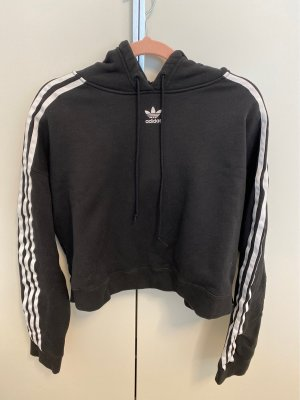 Adidas Sweter o skróconym kroju czarny-biały