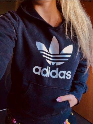 Adidas Sweter z kapturem czarny-biały Bawełna