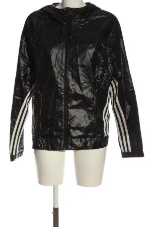 Adidas Regenjacke schwarz-weiß Streifenmuster Casual-Look
