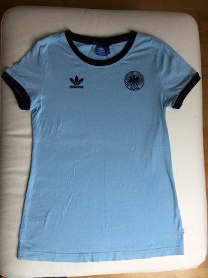 Adidas T-Shirt azure-dark blue cotton