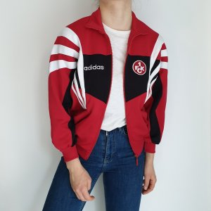 Adidas rot schwarz weiß True Vintage Pulli Pullover Jacke Trainigsjacke Hoodie Sweater Oversize
