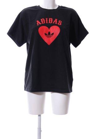 Adidas Rundhalspullover schwarz-rot Motivdruck Casual-Look