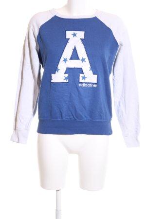 Adidas Rundhalspullover blau-weiß Schriftzug gedruckt sportlicher Stil