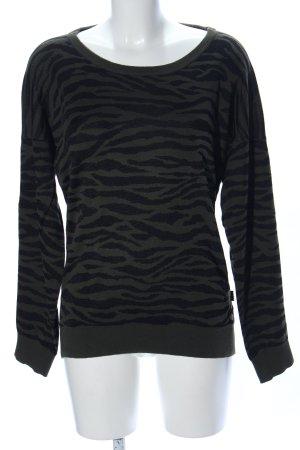 Adidas Rundhalspullover schwarz-khaki Animalmuster Casual-Look