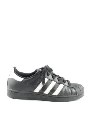 Adidas Sznurowane trampki czarny-biały Wzór w paski W stylu casual