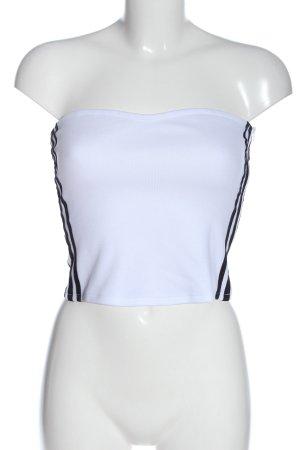 Adidas Hauts épaule nues blanc lettrage imprimé style décontracté
