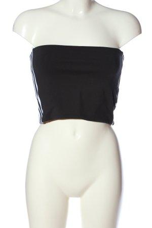 Adidas schulterfreies Top schwarz-weiß Schriftzug gedruckt Casual-Look