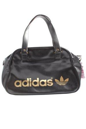Adidas Schultertasche schwarz-goldfarben Schriftzug gedruckt Casual-Look