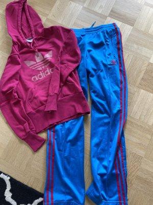 Adidas Pantalone fitness blu neon-rosa