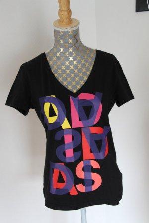 Adidas Koszulka z dekoltem w kształcie litery V czarny Bawełna
