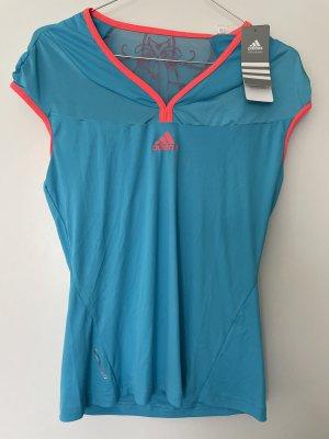 adidas Shirt in Blau/Neon-Orange Gr. 38