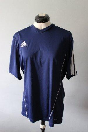Adidas T-shirt de sport bleu foncé-blanc