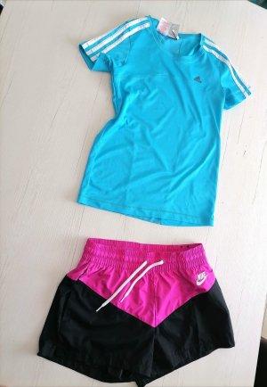Adidas Trackies light blue-neon pink