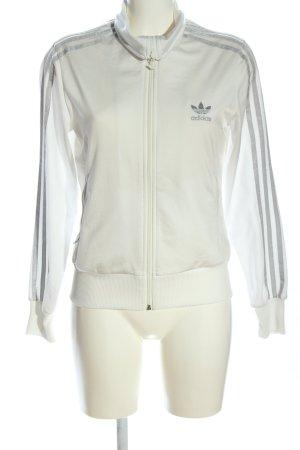 Adidas Shirtjacke weiß-hellgrau Streifenmuster Casual-Look