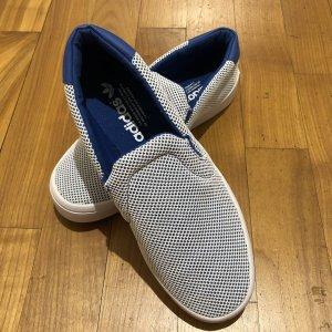 ADIDAS Slipper in blau-weiß