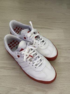 Adidas Sznurowane trampki biały-czerwony Skóra