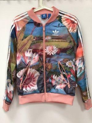 Adidas Sport-Jacke, Blouson, Tropic Print, rose, mit Seerosen, 34/ XS, neuwertig, kaum getragen