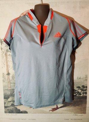 adidas Sport-Shirt Gr. 44 (ca. L/XL) grau rot adizero Zipper Karlsruhe