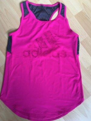 Adidas Top sportowy magenta-malina Tkanina z mieszanych włókien