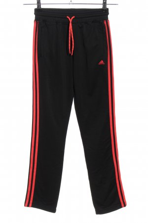 Adidas Sporthose schwarz-rot Motivdruck Casual-Look