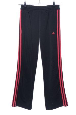 Adidas Pantalone da ginnastica nero-rosso motivo a righe stile atletico