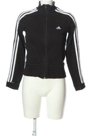 Adidas Sportjacke schwarz-weiß Motivdruck Casual-Look