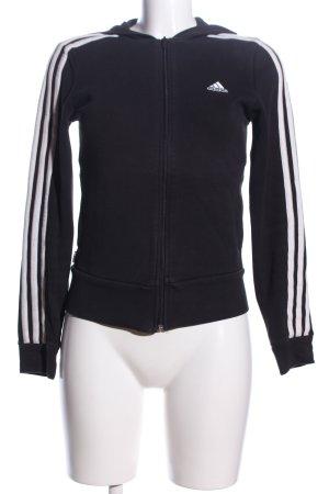 Adidas Sportjacke schwarz-weiß Streifenmuster Casual-Look