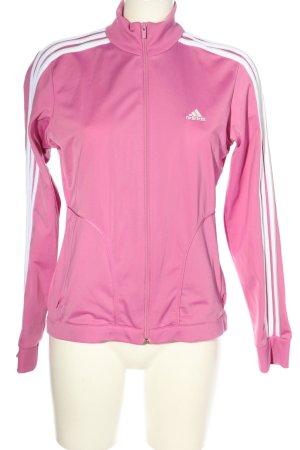 Adidas Sportjacke pink-weiß Streifenmuster sportlicher Stil