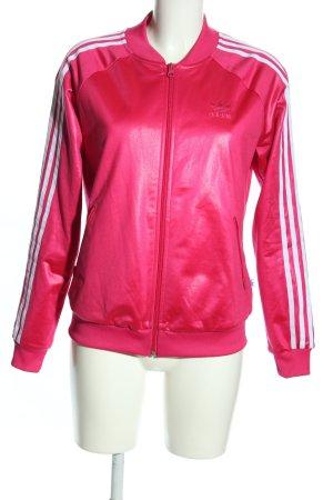 Adidas Sportjacke pink-weiß Streifenmuster Glanz-Optik