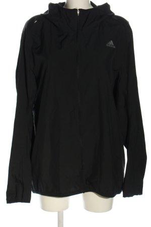 Adidas Sportjacke schwarz Schriftzug gedruckt Casual-Look