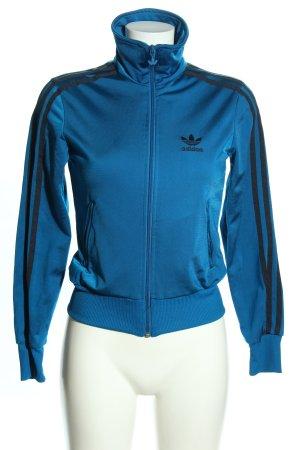 Adidas Sportjacke blau-schwarz Motivdruck sportlicher Stil