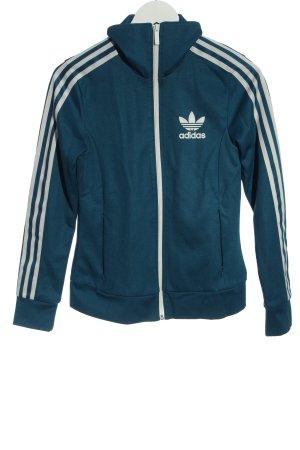 Adidas Giacca sport blu-bianco Stampa a tema stile casual