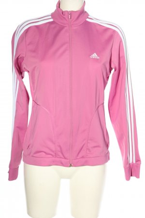 Adidas Kurtka sportowa różowy-biały Wzór w paski Sportowy styl