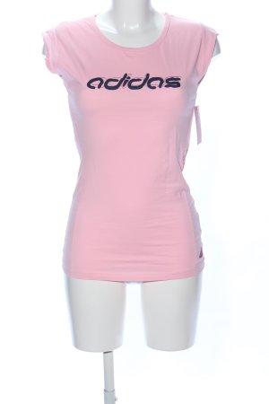 Adidas Sportshirt roze-zwart gedrukte letters casual uitstraling